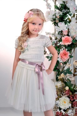 Two-piece blouse and skirt set: Knitted top with ruching and Tulle skirt from Papilio Kids Glamour collection
