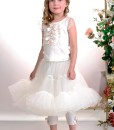 Top and leggings outfit: Leggings with handmade decor and Tulle cup sleeve top with handmade flower decor from Papilio Kids Glamour collection