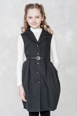 Sleeveless front button dress with pockets from Papilio Kids School Collection