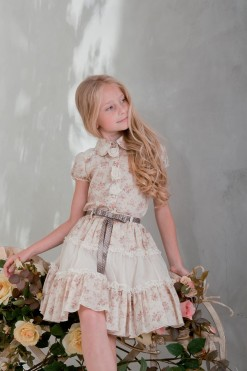 Two-piece blouse and skirt matching set: flower print skirt with sash and Flower print blouse from Papilio Kids Glamour collection