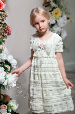 Cap sleeve knitted dress with ruching from Papilio Kids Glamour Collection