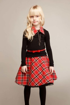 Red-check print outfit: Check print skirt and long sleeve knitted jumper from Papilio KIds Glamour collection