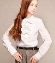 Two-piece school outfit: Classic pants and White long sleeve blouse with bows from Papilio Kids School collection