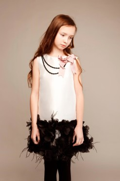 Sleeveless dress with feathers, beads and handmade flower décor from Papilio Kids Glamour Collection