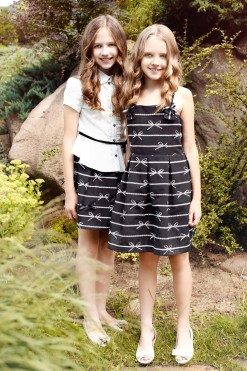 Two-piece classy set: Bow printed skirt and Cup sleeve blouse from Papilio Kids Glamour collection
