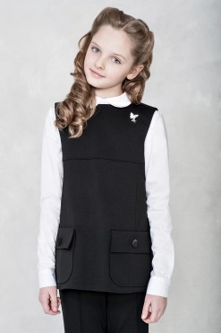 Two-piece school set: Black slim-fit trousers and Black knitted vest from Papilio Kids School collection