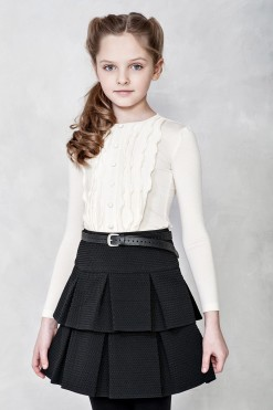 Skirt and Top outfit: Long sleeve knitted top and Jackard pleated skirt from Papilio Kids School collection