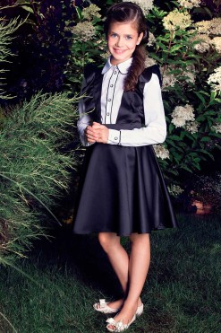 Black sleeveless V-neck dress from Papilio Kids School Collection