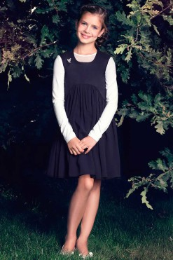 Sleeveless dress with blouse set: Knitted long sleeve top with illusion neck and Knee length sleeveless dress from Papilio Kids School collection