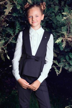 Three-piece matching set: Matching trousers, Peplum vest with bow décor and Long sleeve shirt from Papilio Kids School collection