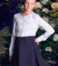 Three-piece school matching set: Ruffle blouse, Pleated skirt, Girls button down vest from Papilio Kids School collection