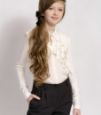 Classic fit trousers and Long sleeve blouse with ruffles from Papilio Kids School collection