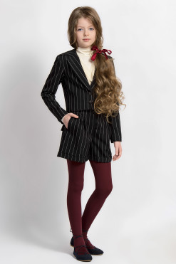 Vertical striped matching set: Turtleneck long sleeve top, Vertical striped blazer, Vertical striped shorts from Papilio Kids School collection