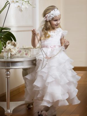 Cap sleeve dress with organza ruffles from Papilio Kids Ceremony Collection
