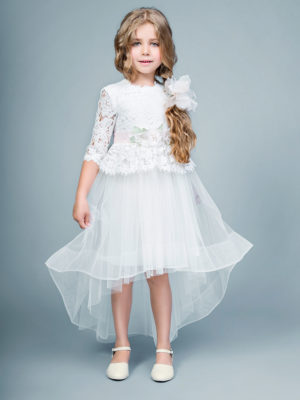 Lace bodice gown with handmade flower decor from Papilio Kids Ceremony Collection