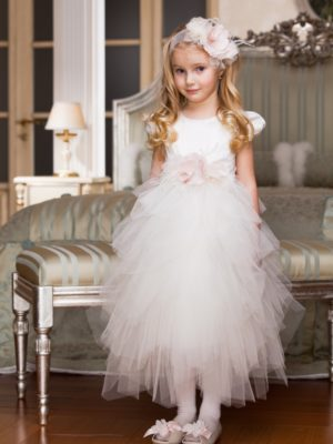 Cap sleeve tutu dress with feathers and handmade flower décor from Papilio Kids Ceremony Collection