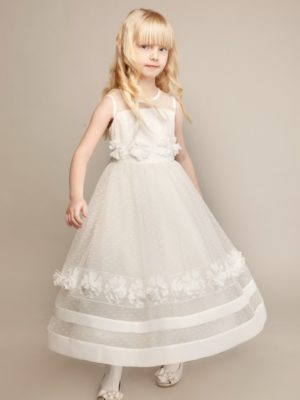 Long tulle ball gown with handmade flower décor from Papilio Kids Ceremony Collection