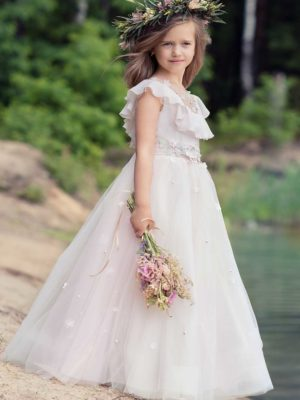 A-line dress with illusion neckline, handmade flower decor, and embroidery from Papilio Kids Ceremony Collection