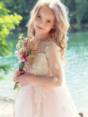 A-line dress with 3/4 length illusion sleeves and lace decor from Papilio Kids Ceremony Collection
