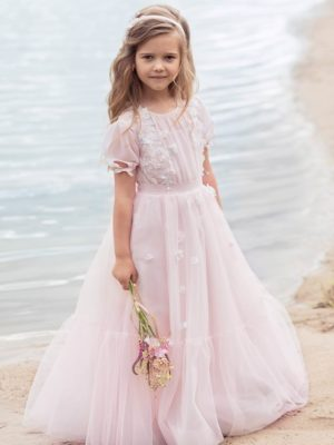 Cup sleeve dress with handmade flower decor from Papilio Kids Ceremony Collection