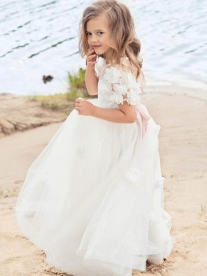 Cup sleeve ball gown with lace bodice and handmade flower decor from Papilio Kids Ceremony Collection