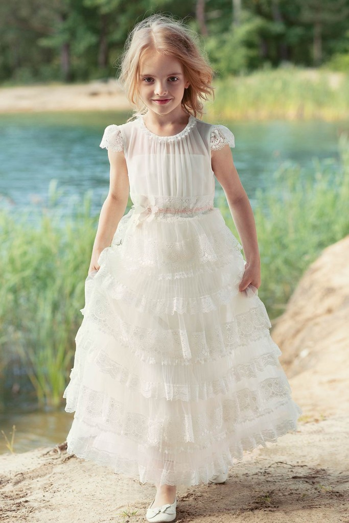 Lace tiered ball gown with cup sleeves from Papilio Kids Ceremony Collection
