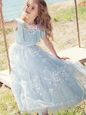 Ball gown with handmade flower decor and embroidery