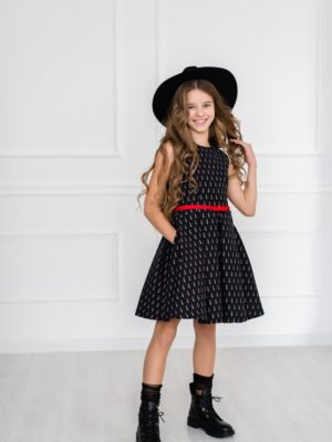 Papilio Kids lipstick-print A-line dress with pockets