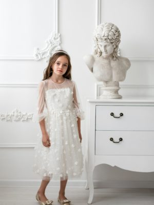 Papilio Kids Balloon sleeve sequinned dress